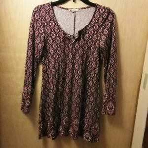 Burgundy & Pink About A Girl A-line Boho Dress S